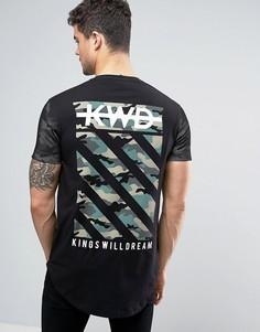 Черная футболка с камуфляжным принтом на спине Kings Will Dream - Черный