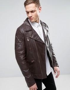 Байкерская кожаная куртка Barneys - Коричневый Barneys Originals