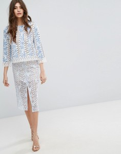 Кружевная юбка миди с разрезом спереди Endless Rose - Синий