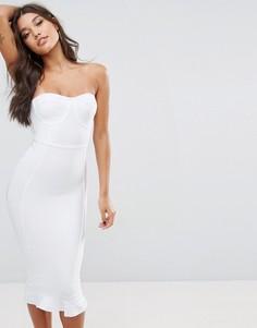 Бандажное платье-премиум миди с оборкой по низу PrettyLittleThing - Белый