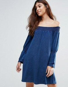 Платье из ткани шамбре со сборками Influence - Синий