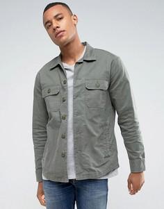 Рубашка навыпуск цвета хаки с двумя карманами в стиле милитари Abercrombie & Fitch - Бежевый