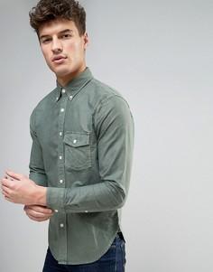 Узкая оксфордская рубашка на пуговицах с карманом Abercrombie & Fitch - Зеленый
