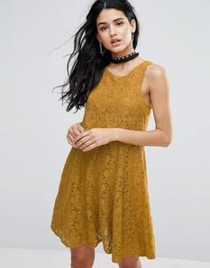 Короткое приталенное платье Free People Miles Of Lace - Желтый