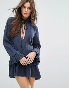 Платье с расклешенным подолом и шнуровкой One Teaspoon - Серый
