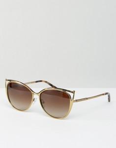 Металлические солнцезащитные очки кошачий глаз с вырезом Michael Kors - Золотой