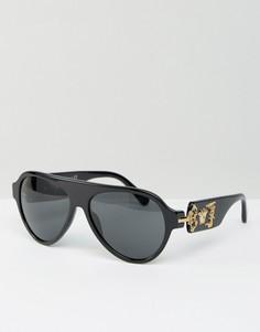 Классические очки-авиаторы с головой медузы Versace - Черный