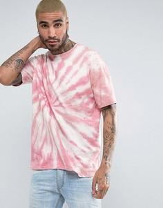 Розовая оversize-футболка с принтом тай-дай ASOS - Розовый