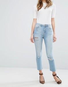 Прямые джинсы с рваной отделкой Miss Selfridge - Синий