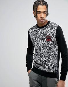 Джемпер с леопардовым узором Love Moschino - Черный
