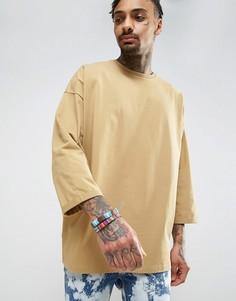 Плотная оversize-футболка с отворотами на рукавах длиной 3/4 ASOS - Бежевый