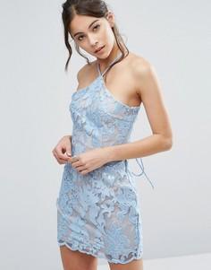 Кружевное платье мини с лямкой через шею Love Triangle - Синий