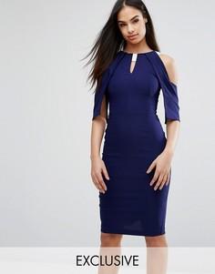 Платье-футляр с открытыми плечами, оборками и атласной отделкой Vesper - Темно-синий