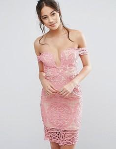 Платье мини с широким вырезом в форме сердца Love Triangle - Розовый