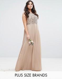 Платье макси с декорированным лифом и плиссированной юбкой Lovedrobe Luxe - Розовый