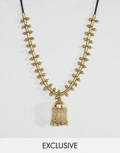 Металлическое ожерелье с шариками Reclaimed Vintage - Золотой
