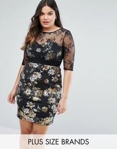 Платье-футляр с цветочным принтом и сетчатыми рукавами Little Mistress Plus - Черный