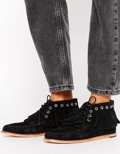 Ботинки на плоской подошве с люверсами и бахромой H by Hudson - Черный