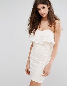 Кружевное платье-бандо мини Miss Selfridge - Белый
