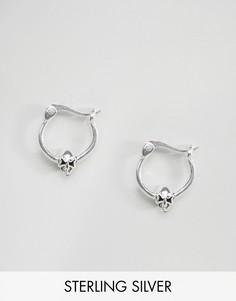 Серебряные серьги-кольца с миниатюрными черепами 10мм ASOS - Серебряный