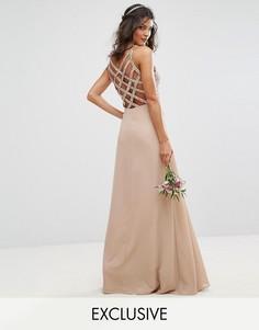 Платье макси с пайетками и перекрестными ремешками сзади Maya Delicate - Розовый