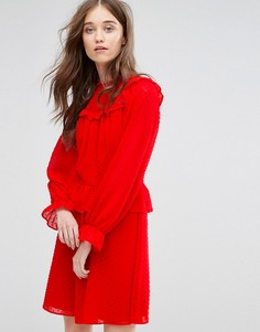 Платье из сетки добби с оборками Miss Selfridge - Красный