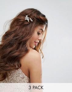 Набор из 3 заколок для волос с золотистыми листьями и цветами True Decadence - Золотой