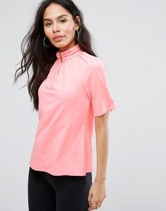 Рубашка с короткими рукавами и высоким воротом Closet London - Розовый