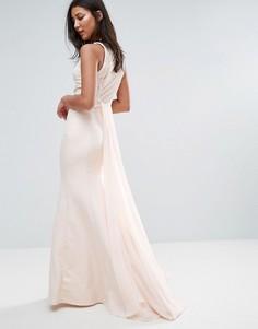 Прозрачное платье макси с вырезом со стразами Little Mistress - Бежевый