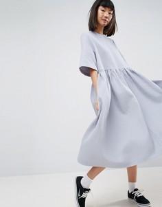 Свободное платье миди из вафельной ткани ASOS WHITE - Синий
