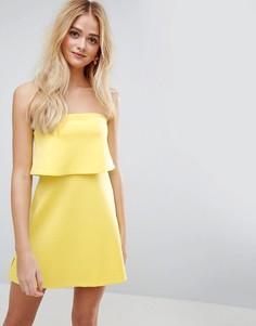 Платье-бандо мини с кроп-топом ASOS - Желтый