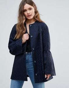 Пиджак с оборками на рукавах Helene Berman - Темно-синий