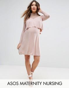 Платье с сетчатой вставкой ASOS Maternity NURSING Victoriana - Розовый