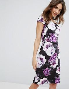 Платье-футляр с цветочным принтом и открытыми плечами Wal G - Черный