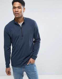 Темно-синий свитшот из легкой ткани с молнией до середины груди Abercrombie & Fitch - Темно-синий