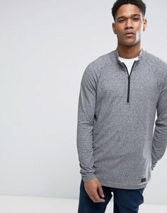 Серый меланжевый свитшот с молнией до середины груди Abercrombie & Fitch - Серый