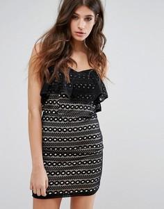 Кружевное платье-бандо мини Miss Selfridge - Черный