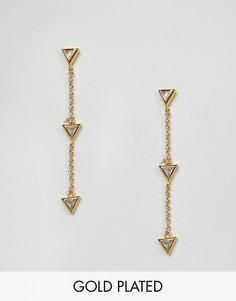 Позолоченные серьги‑подвески в виде стрелы Gorjana - Золотой