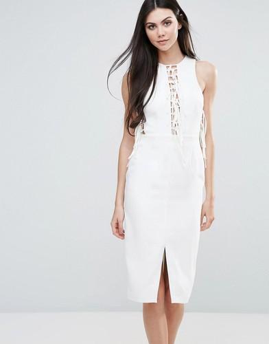 Трикотажное платье миди с кружевной отделкой спереди Lavish Alice - Белый