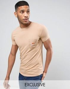 Длинная обтягивающая футболка с карманом Ellesse - Светло-серый