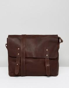 Кожаная сумка почтальона Lyle & Scott - Коричневый