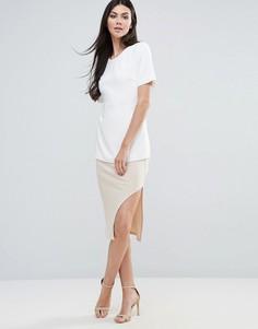 Трикотажная юбка в рубчик с разрезом Lavish Alice - Рыжий