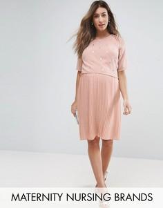Премиум-платье с двухслойным топом и отделкой Mama.licious Nursing - Розовый