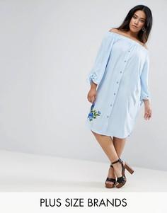 Платье с открытыми плечами и вышивкой Boohoo Plus - Синий