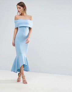 Платье с открытыми плечами и баской Club L - Синий