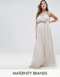 Платье-премиум макси с отделкой Mama.licious - Серый
