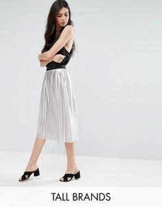 Плиссированная юбка металлик Y.A.S Tall - Серебряный