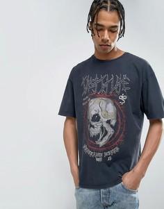 Темно-серая футболка с принтом черепа New Look - Серый