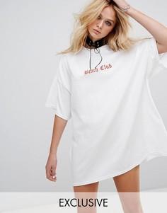 Свободное платье-футболка с чокером Milk It Vintage - Белый