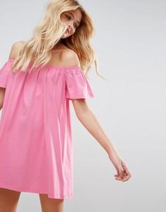 Платье мини с открытыми плечами ASOS - Розовый